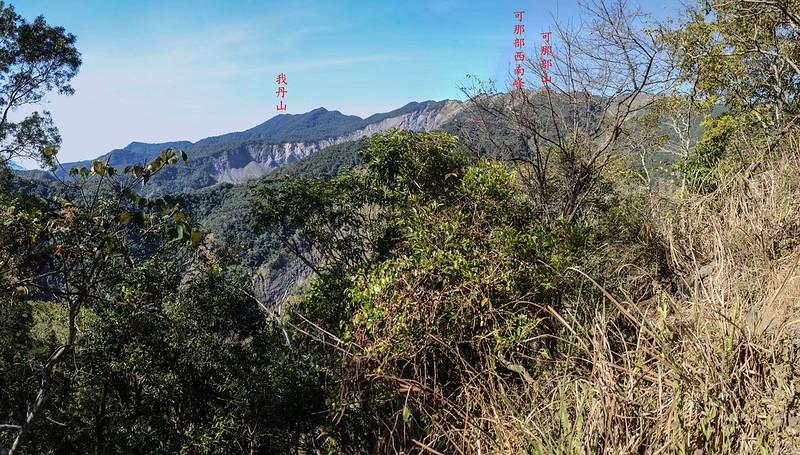 西良母嵐山稜線(H 1360 m)西眺可那部等稜線 1