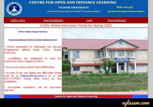 Tezpur University Distance Education 2020 Homepage