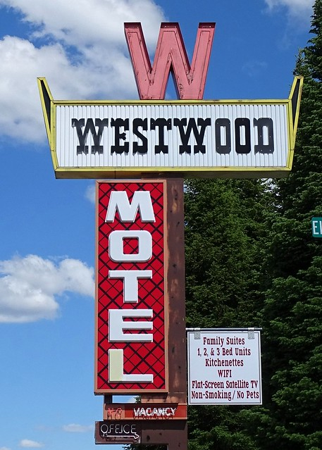 MT, West Yellowstone-Westwood Motel Sign