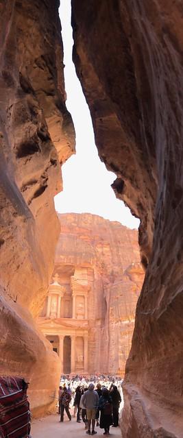 Vertical pano of Petra's Al-Khazneh (The Treasury), a UNESCO World Heritage Site (1985)