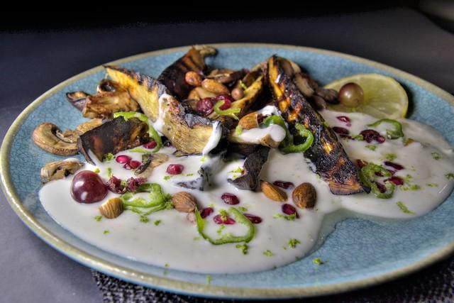 Grilled Aubergine with Coconut Yogurt & Nuts