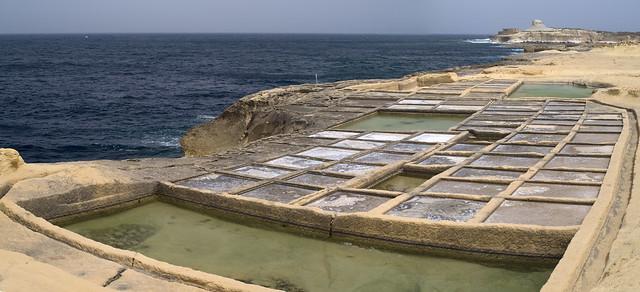 Walking along Salt Pans of Żebbuġ, Gozo, Malta