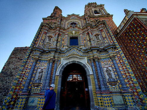 Mexico. The exquisite tiled exterior of the San Francisco Acatepec church in Cholula outside of Puebla.