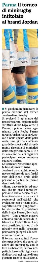 Gazzetta di Parma 20.11.19 - 1° Torneo Jordan RPFC