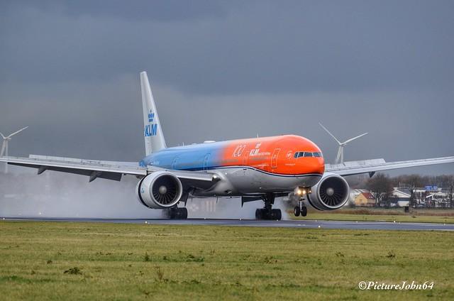 KL744 KLM Boeing 777 (PH-BVA) Orange Pride arriving from Lima at Schiphol Amsterdam