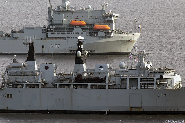 Royal Navy Albion-class amphibious assault ship HMS Albion, L14, IMO 9160592, and the Primary Casualty Receiving Ship RFA Argus, IMO 7822550, L135; Clyde Anchorage, Firth of Clyde, Scotland