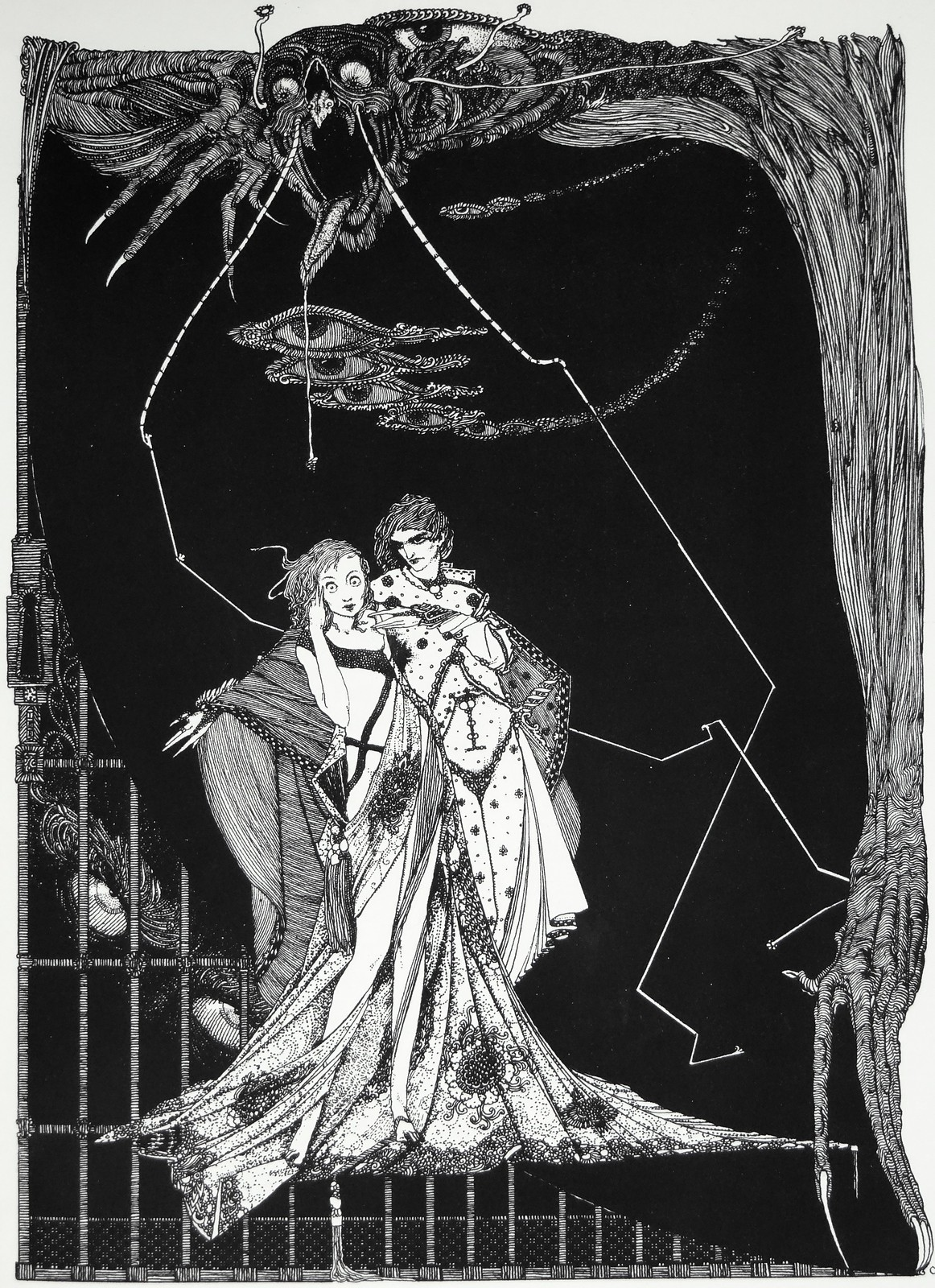 "Margaret: ""Does not death lurk without?"" Art by Harry Clarke for Goethe's Faust (1927)"
