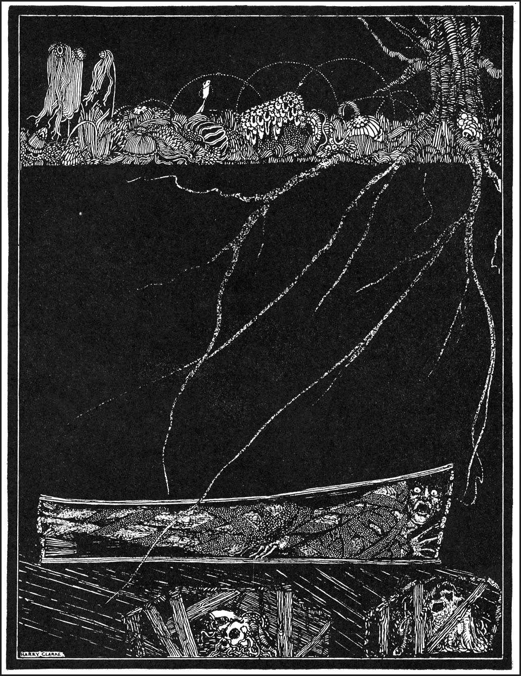 "Harry Clarke  - ""Deep, deep, and forever, into some ordinary and nameless grave."" Art for Edgar Allan Poe's ""The Premature Burial"", 1936"