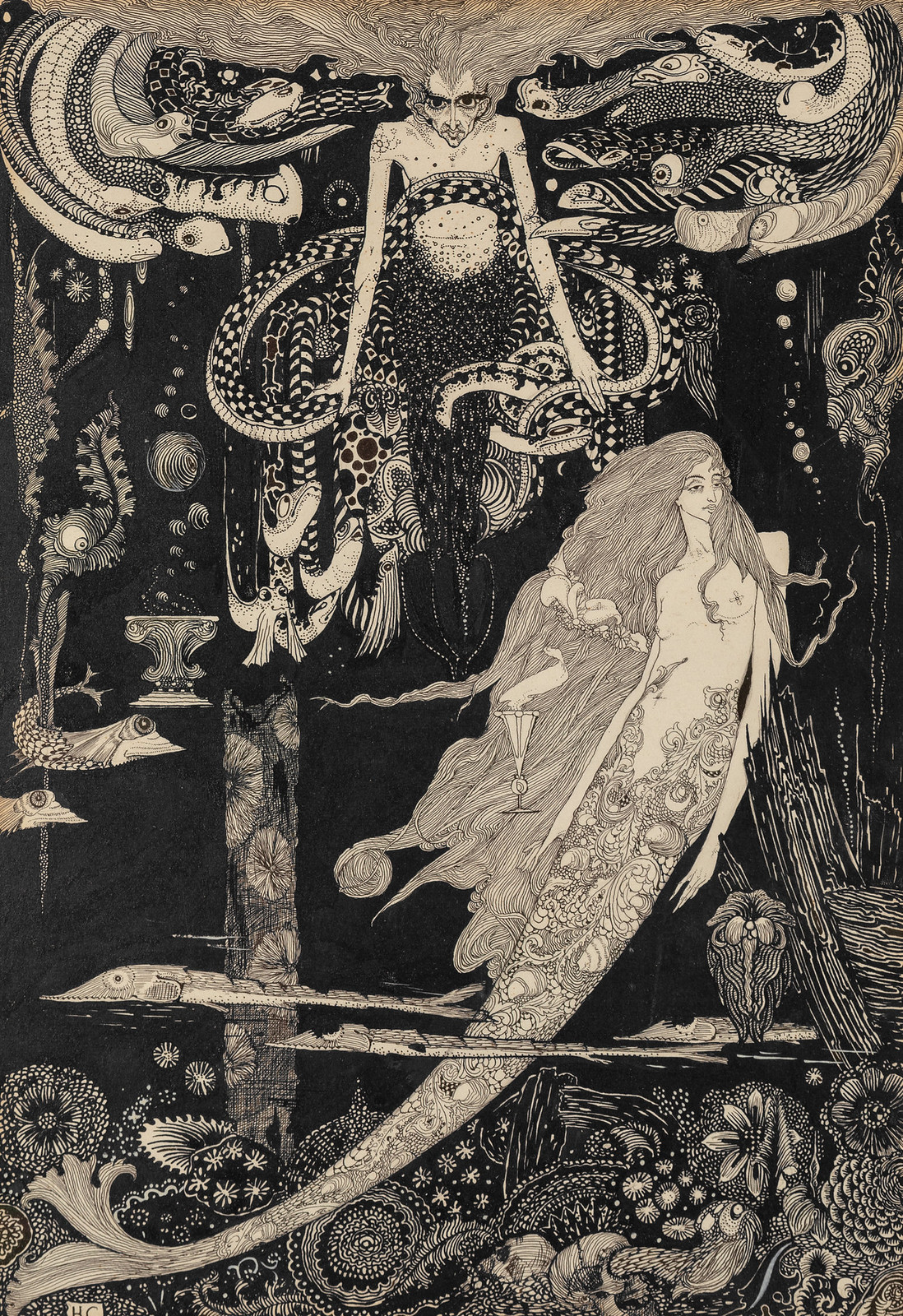 "Harry Clarke - ""'I know what you want,' said the sea witch."" Illustration from ""The Little Sea Maid,"" Fairy Tales by Hans Christian Andersen, 1916"