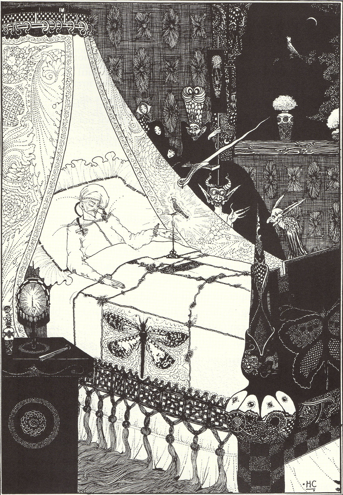 "Harry Clarke - ""'Music! Music!' cried the Emperor. 'You little precious golden bird, sing!'"" From ""The Nightingale"" from Hans Christian Andersen's Fairy Tales, 1916"