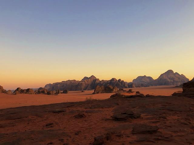 Last light over Jordan's stunning Wadi Rum desert