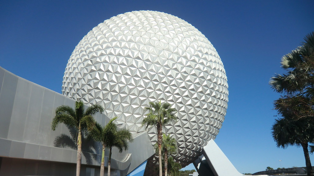 Florida - Orlando: EPCOT - Spaceship EARTH, iconic building of the famous Theme Park