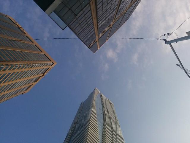 Looking up, Yonge and Bloor #toronto #yongeandbloor #skyscraper #blue #sky #twobloorwest #hudsonsbaycentre #oneblooreast