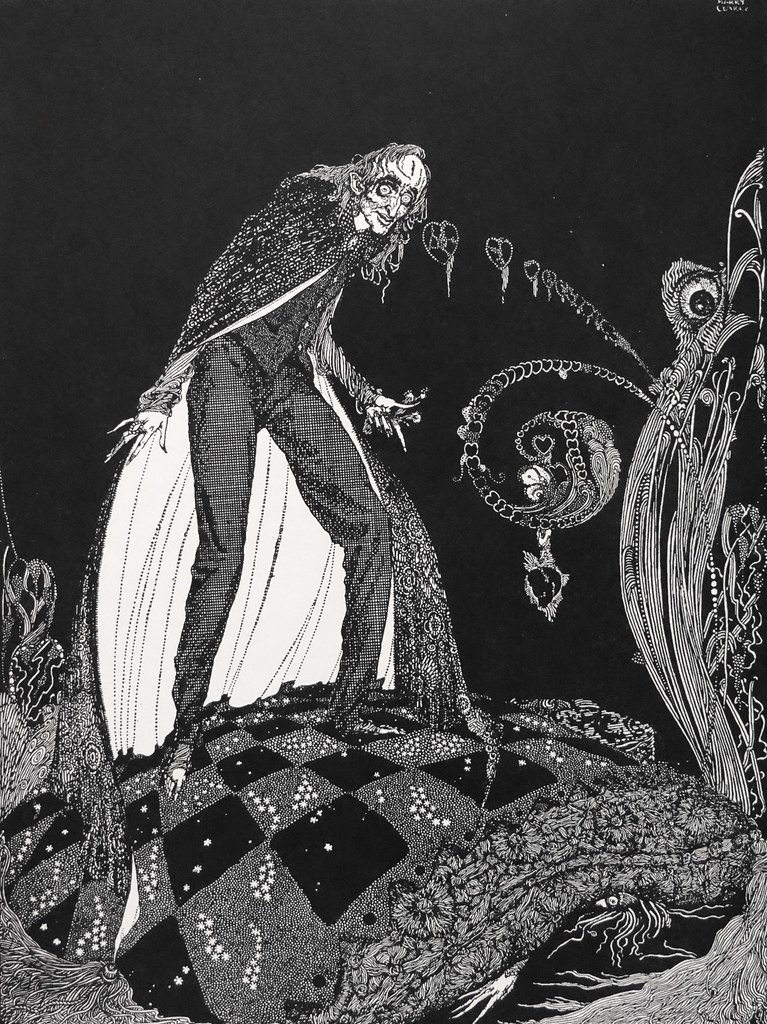 """But, for many minutes, the heart beat on with a muffled sound."" Art by Harry Clarke for Poe's ""The Tell-Tale Heart"" (1936)"