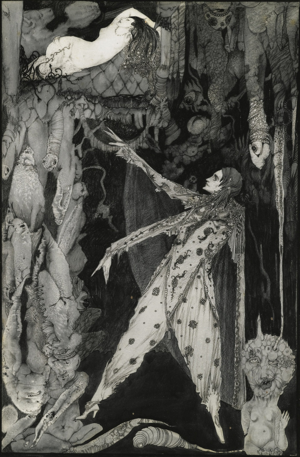 "Harry Clarke - ""How heavenly Fair the Form that shines: in this enchanted glass"" interior art for Goethe's Faust, 1927"