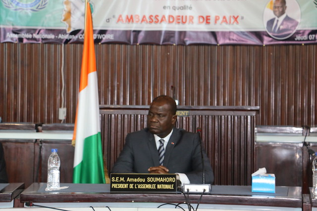 Ivory Coast-2019-11-07-President of Côte d'Ivoire National Assembly Honored as Ambassador for Peace