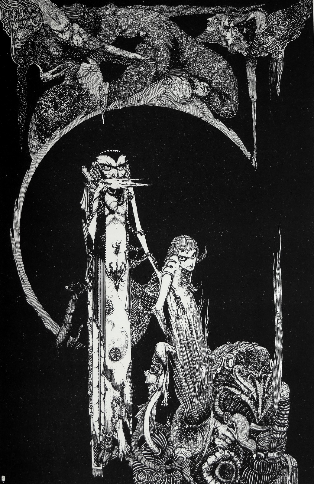 "Wizards and Warlocks: ""On a road like this men droop and drivel, while woman goes fearless and fast to the devil."" Art by Harry Clarke for Goethe's Faust (1927)"