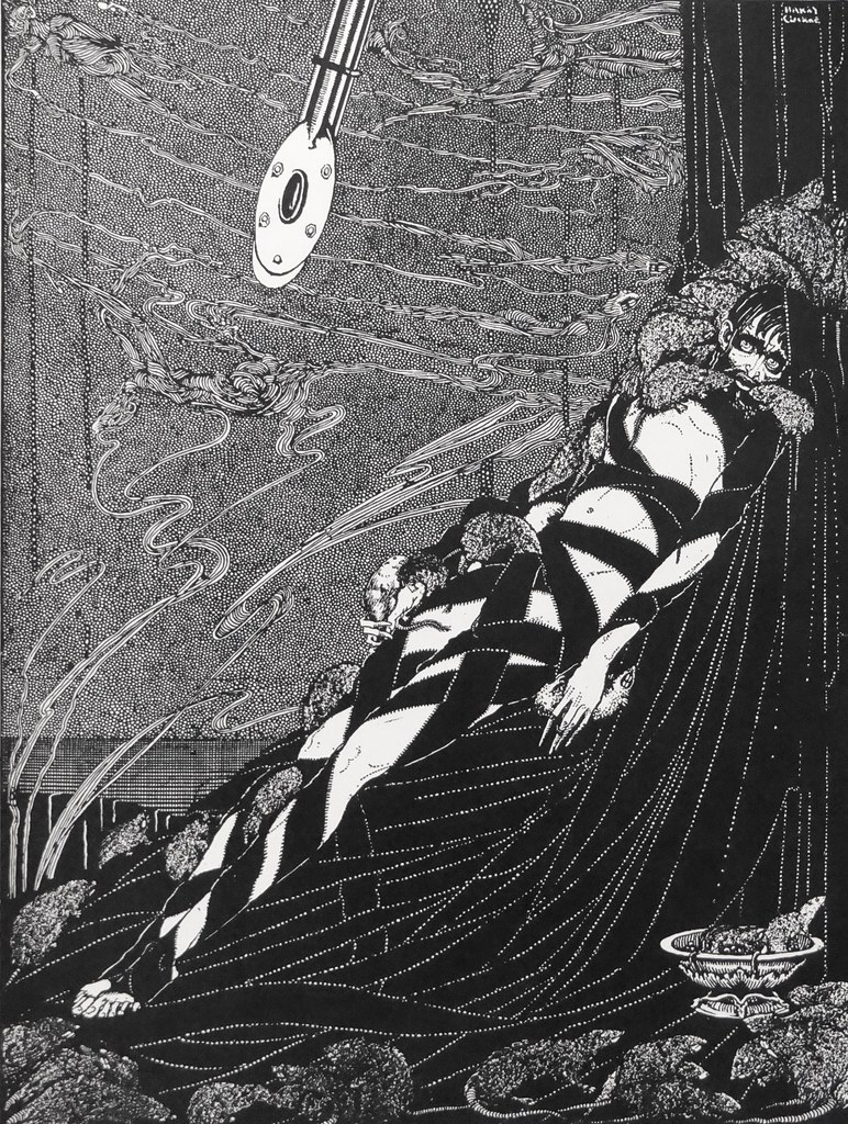 """They swarmed upon me in ever-accumulating heaps."" Art by Harry Clarke for Poe's ""The Pit and the Pendulum"" (1936)"