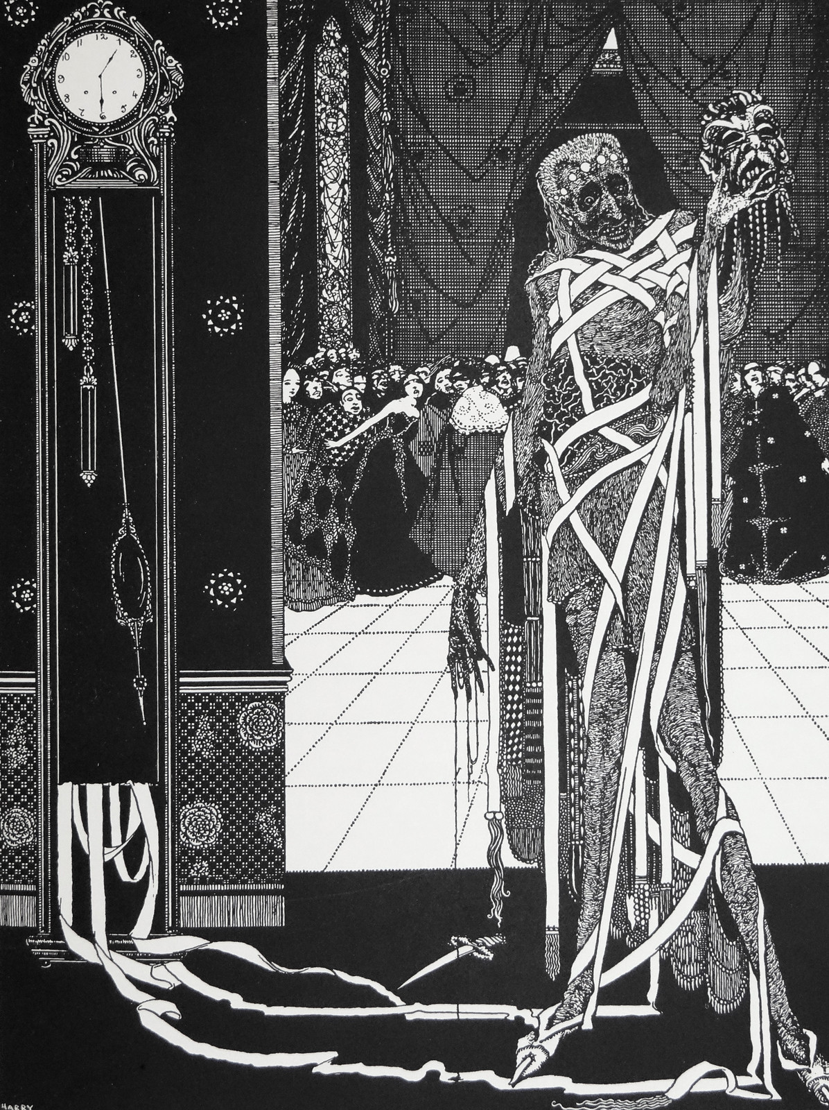 """The dagger dropped gleaming upon the sable carpet."" Art by Harry Clarke for Poe's ""The Pit and the Pendulum"" (1936)"