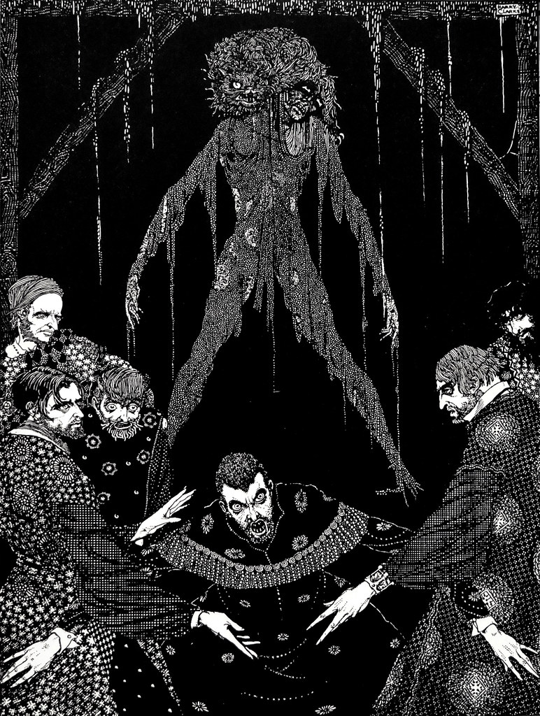 """I had walled the monster up within the tomb!""  Art by Harry Clarke for Poe's ""The Black Cat"" (1936)"