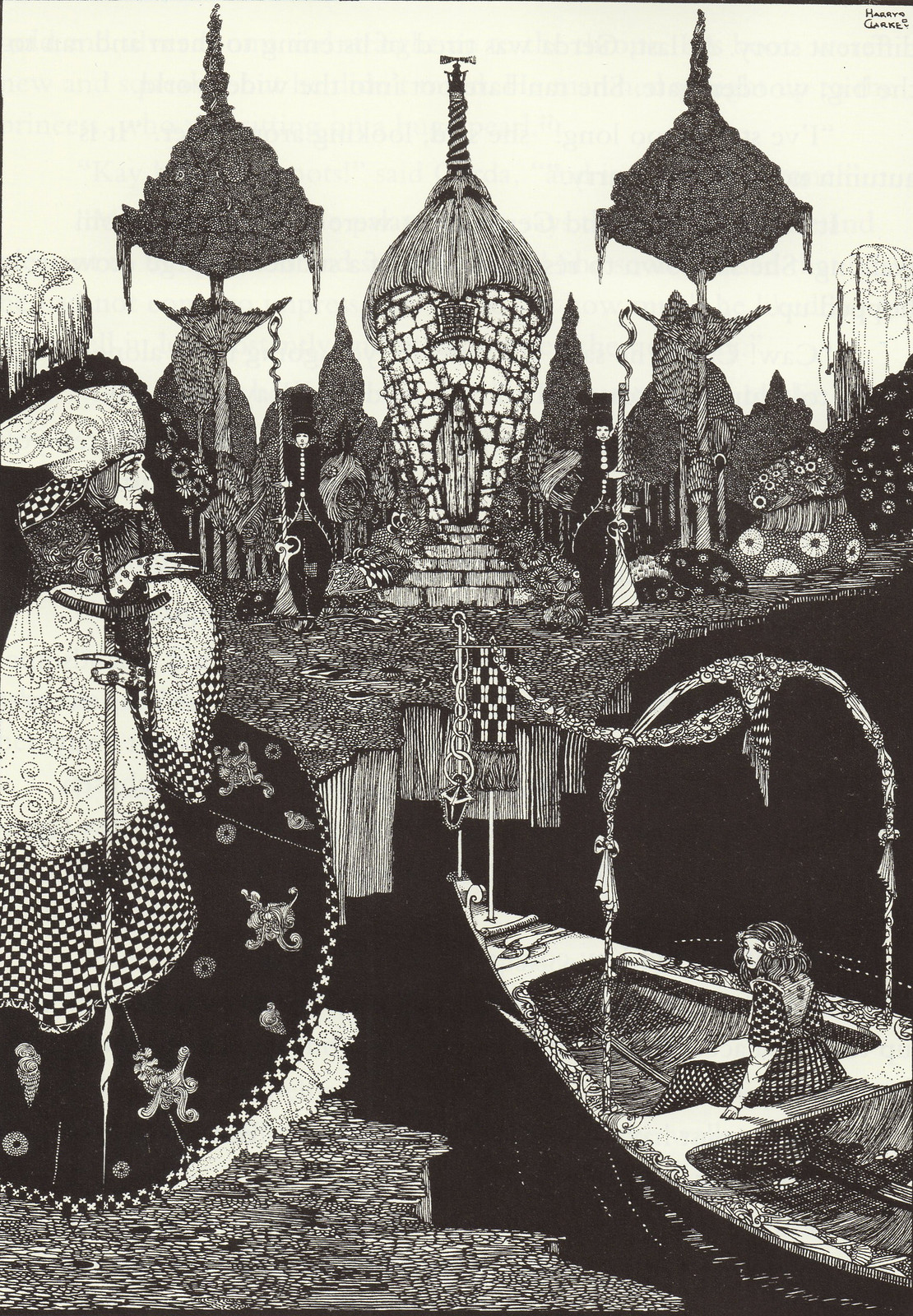 "Harry Clarke - ""How do you manage to come on the great rolling river?""From ""The Snow Queen"" from Hans Christian Andersen's Fairy Tales, 1916"