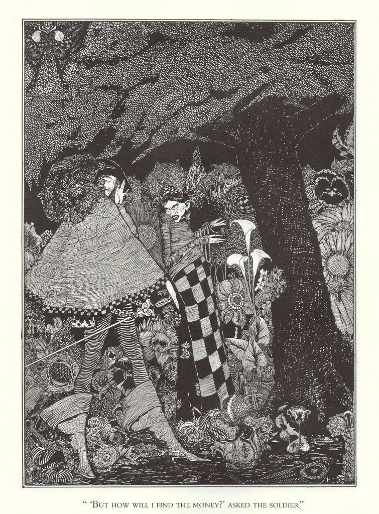 "Harry Clarke - ""'But how will I find the money?' asked the soldier.""From ""The Tinder Box,"" from Hans Christian Andersen's Fairy Tales, 1916"