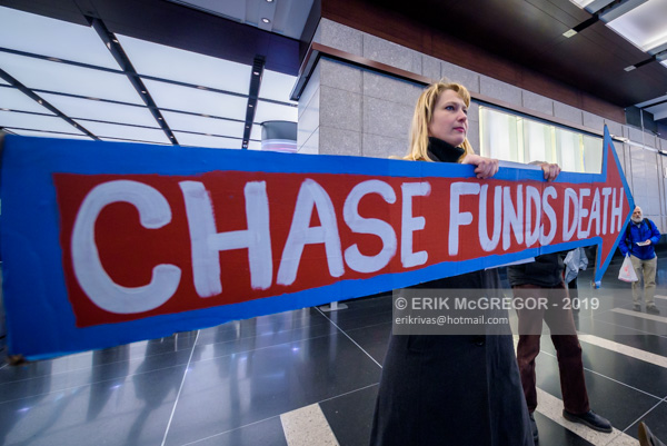Climate activists protest at JP Morgan Chase
