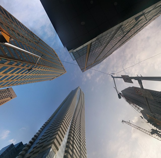 Detail, panorama, Yonge and Bloor #toronto #yongeandbloor #skyscraper #twobloorwest #hudsonsbaycentre #oneblooreast #blue #sky #googlephotos #panorama