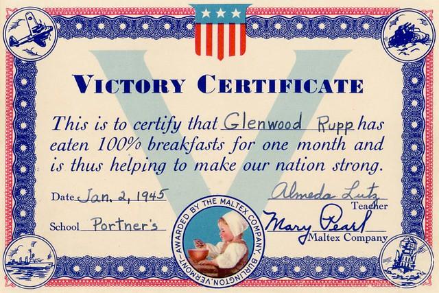 Maltex Victory Certificate, 1945