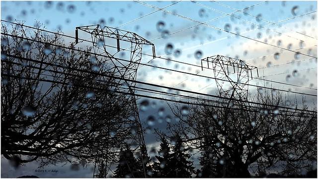 Pylons, Power Lines & Tree Silhouettes ~ a Rainting