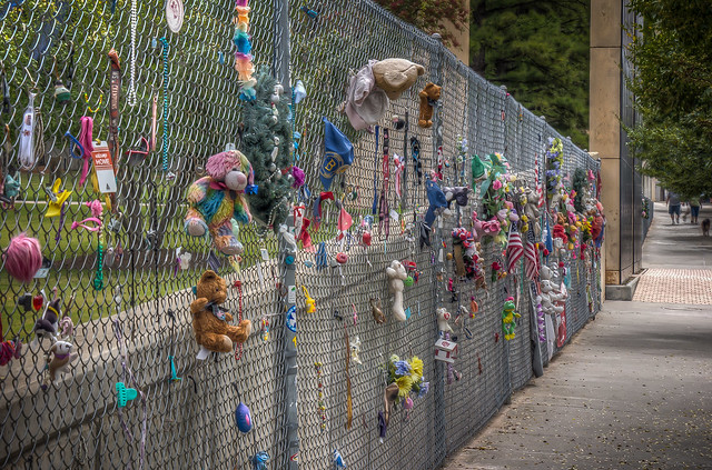 Fence with toys at the Oklahoma City National Memorial & Museum