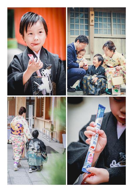 七五三 千歳飴はミルキー ペコちゃんを真似て表情をつくる男の子