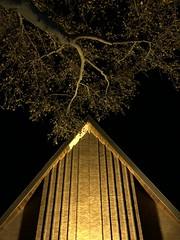 Church lighting up nature