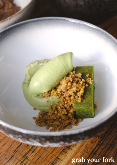 Matcha creme, pistachio crumble and mint ice cream at Noi restaurant in Petersham Sydney