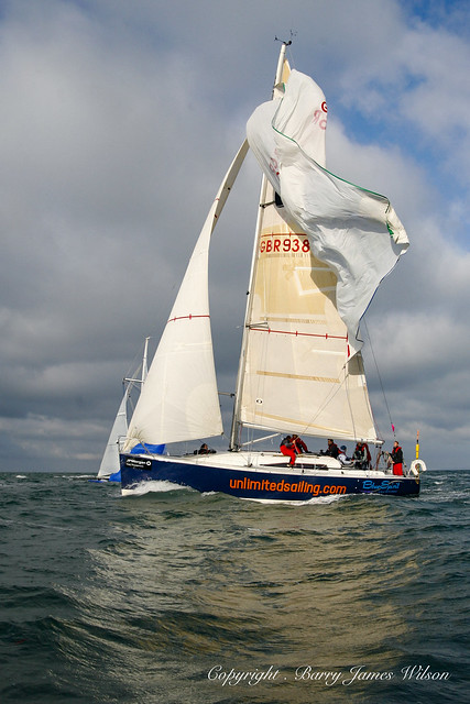 Action from Round the Island Yacht Race