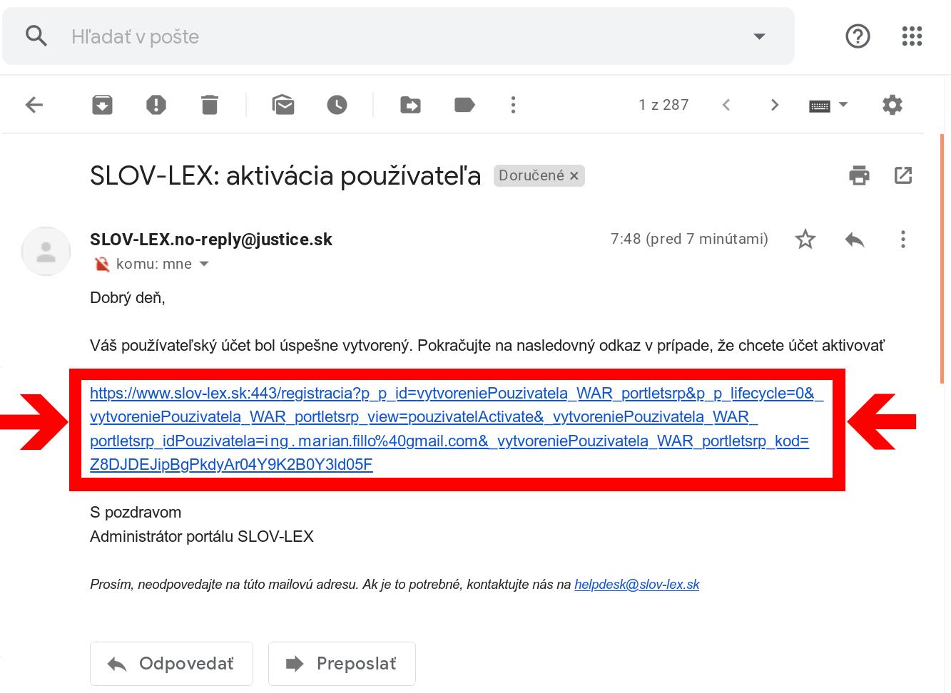 Slov-Lex / Aktivácia používateľa