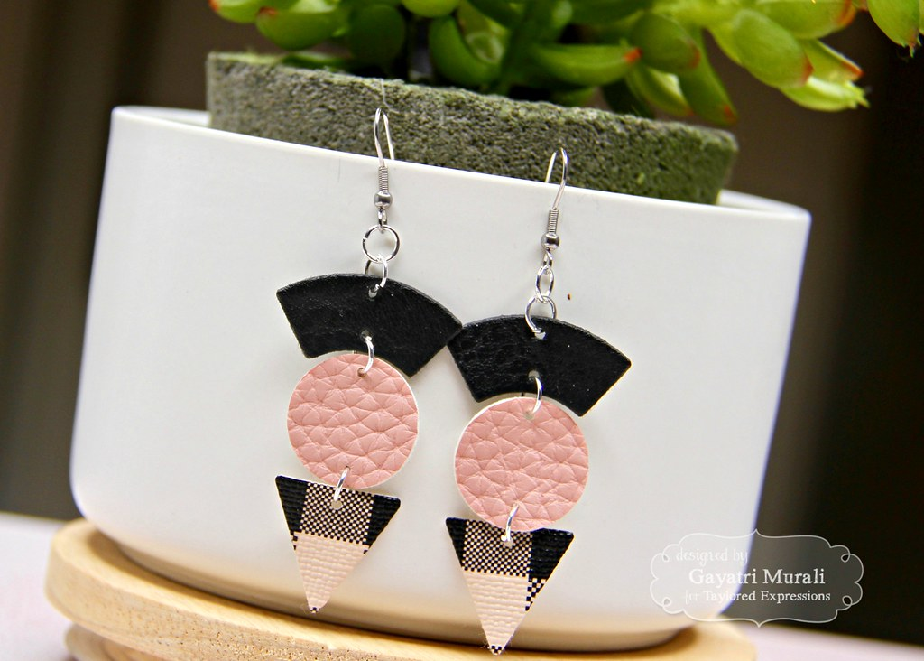 Pink and Black earring #3 closeup