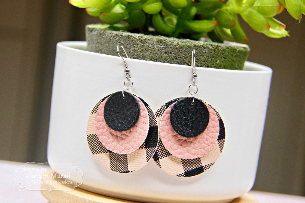 Pink and Black earring #1 closeup