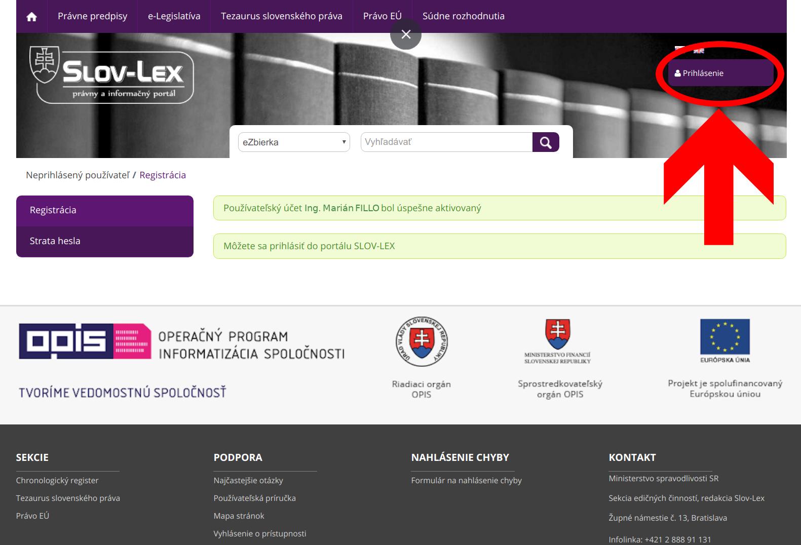 Slov-Lex / Používateľský účet úspešne aktivovaný