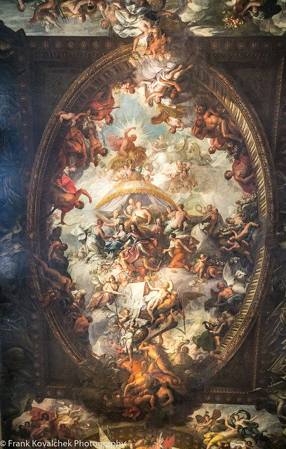 Painting inside the Painted Hall, Old Royal Naval College, Greenwich, London