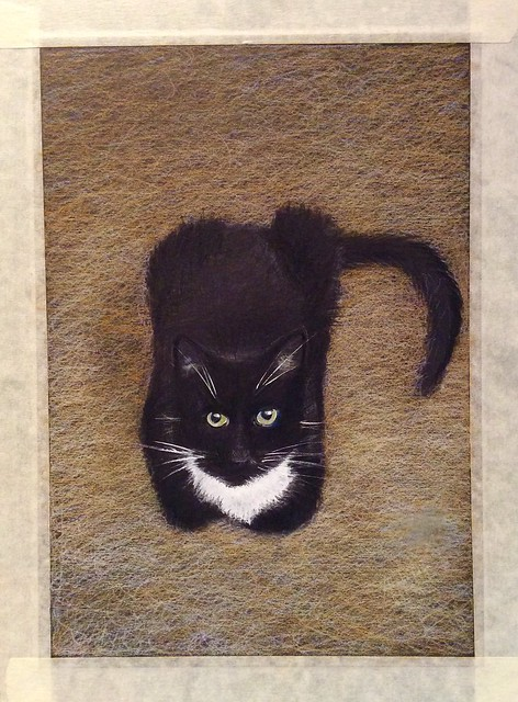 Jenkins, waiting today, for his Cat Treats. Coloured pencil drawing on black card by jmsw. Highlights in Gouache.