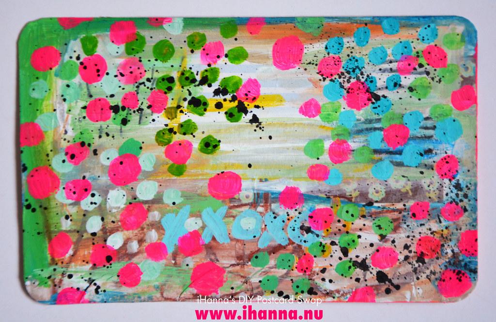 Painted bonus postcard created for the swap