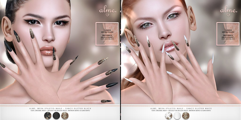 "Alme. for Shiny Shabby – "" Alme Mesh Stiletto nails//Fancy Glitter"" ♥"