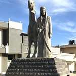 Statue of the founding sheikh in the Golan Heights village of بقعاتا