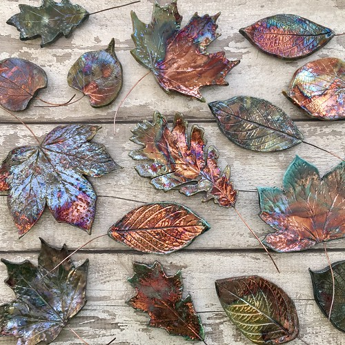 Ceramic leaves, raku leaves, wall art