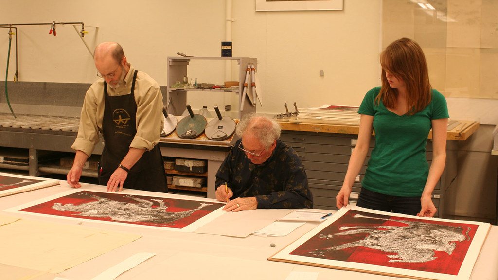 Rudy Pozzatti signs prints, April 23, 2010