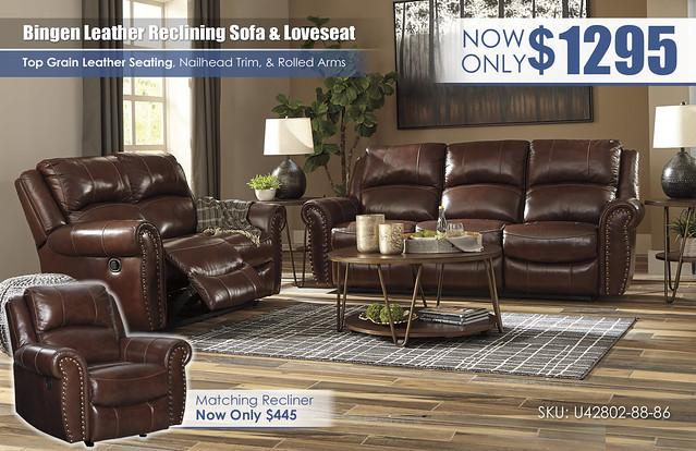 Bingen Leather Reclining Sofa & Loveseat_U42802-88-86