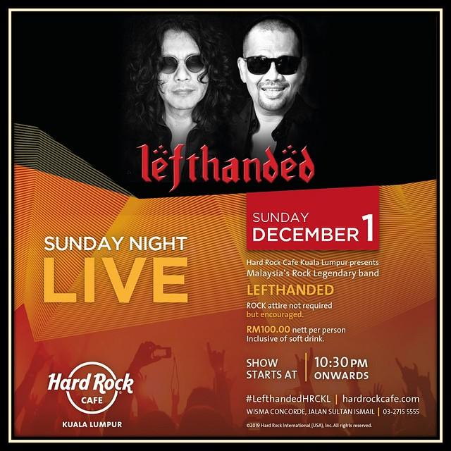 Sunday Night Live LEFTHANDED Bakal Gegarkan Hard Rock Café Kuala Lumpur