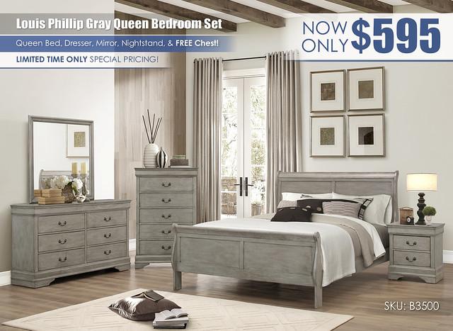 Louis Phillip Gray Queen Bedroom Set_Special_B3500