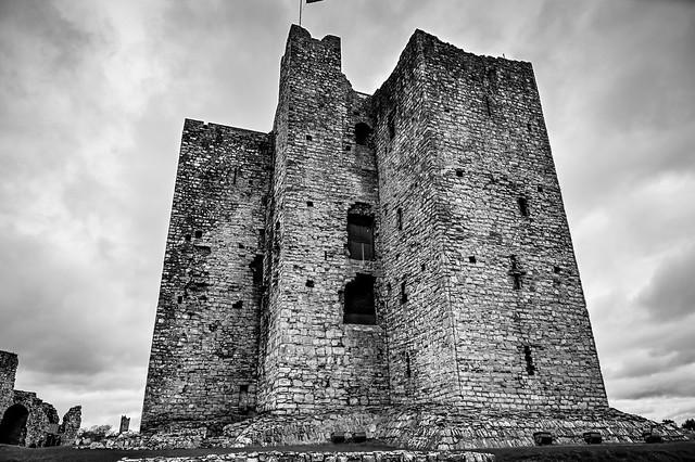 The Keep in Trim Castle ruins in B&W - Trim County Meath Ireland
